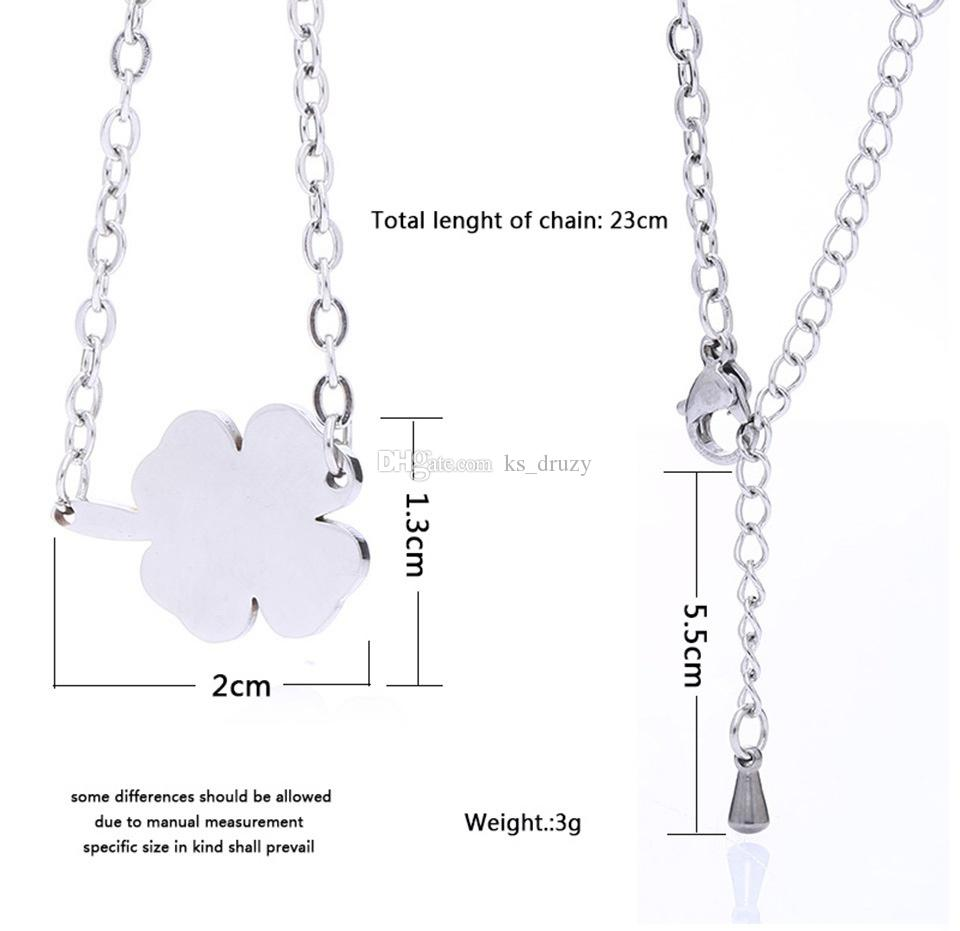 Fashion Stainless Steel Bracelet Four-leaf Straw Clover Charms Bracelets for Women Lover Jewelry Party Good Gift