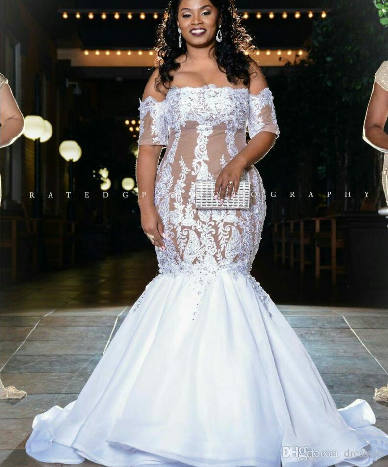 2018 Plus Size Mermaid Wedding Dresses Off The Shoulder Illusion Half Long  Sleeve Sweep Train Beach Bridal Gowms For Fat Women Wedding Ball Gown Casual  ... d774a312b7