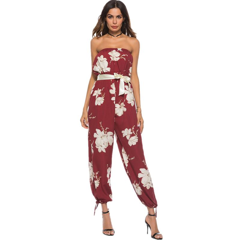 f193bb5d3efc Boho Women Floral Printed Summer Beach Rompers Backless Wrapped Chest Ladies  Jumpsuits 2018 Sexy Slash Neck Waist Belt Jumpsuit Online with  49.48 Piece  on ...