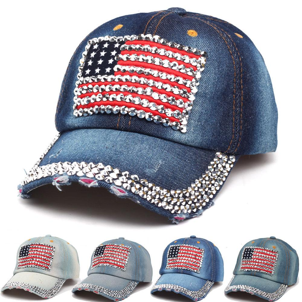 USA Flag Baseball Caps Adjustable Universal Jean Denim Rhinestone ... 3f453f6a9b6d