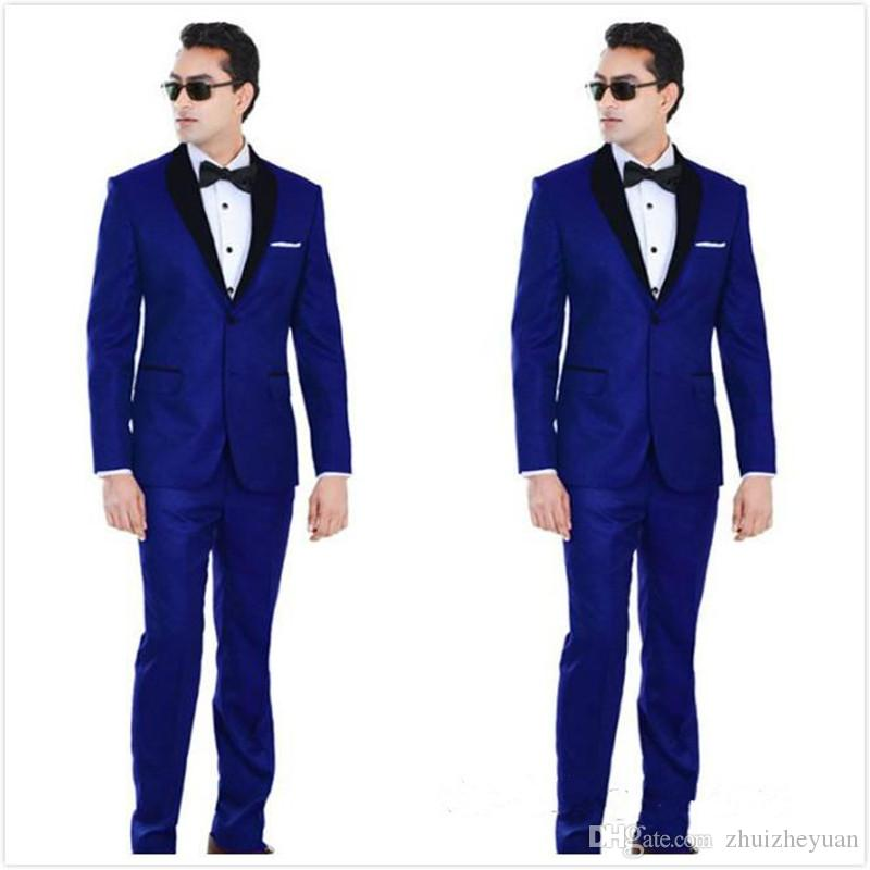 New Cheap Royal Blue Wedding Tuxedos Two Pieces Groomsmen Suit Black Shawl Lapel Prom Suits Two Buttons Mens Suits Jacket+Pants+Tie