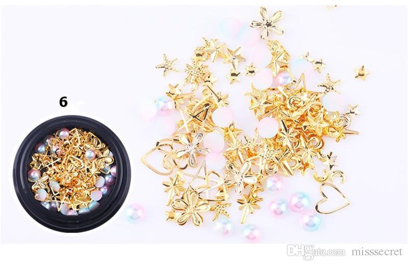 New 3D Moon Star Nail Art Decoração DIY Brilhante brilhante diamante pérola Nail Art Supplies 7 estilos