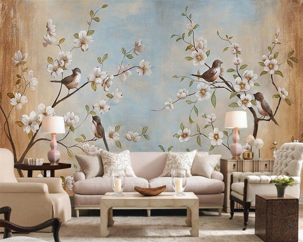 Beibehang Customize Any Size 3d Living Room Wallpaper, Modern Flower Bird  Peach Painting Picture Murals Wallpaper For Walls 3d I Wallpapers Hd Image  ...