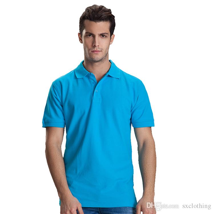 5ab918770f8 2019 2018 Hot Sale High Quality 100% Cotton Work Clothes Advertisement Shirt  Solid Color Blank Plain Polo Tee Shirts From Sxclothing