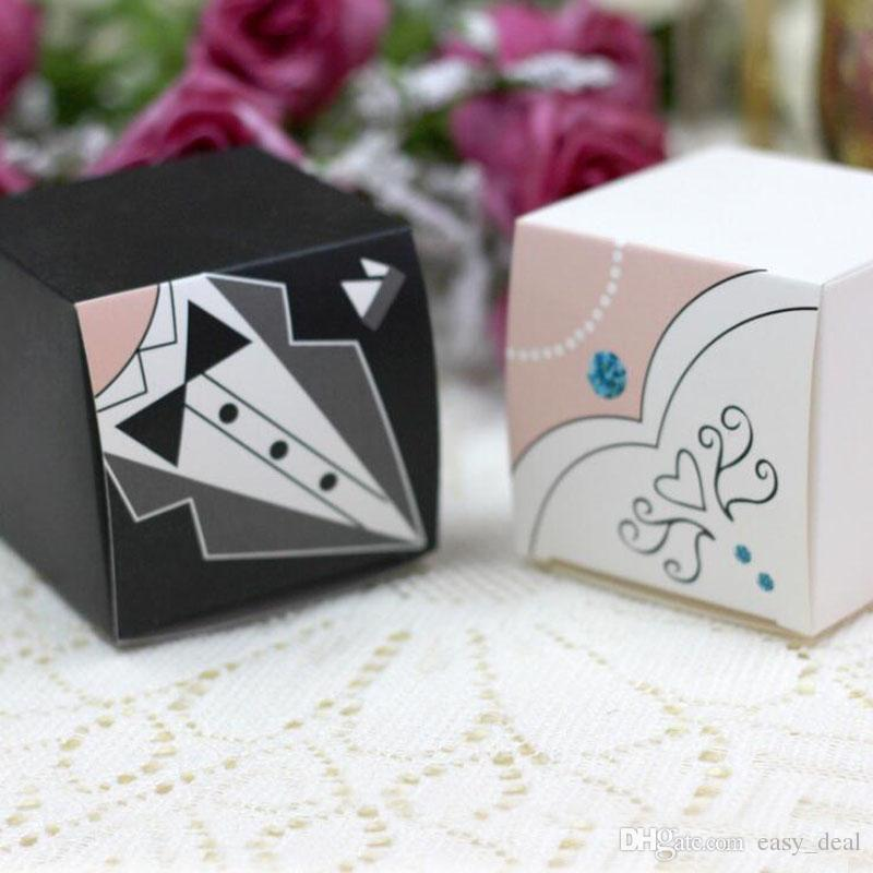 Wedding decoration bride groom candy boxes tuxedo and gown wedding favor and gifts paper for mariage ZA6029