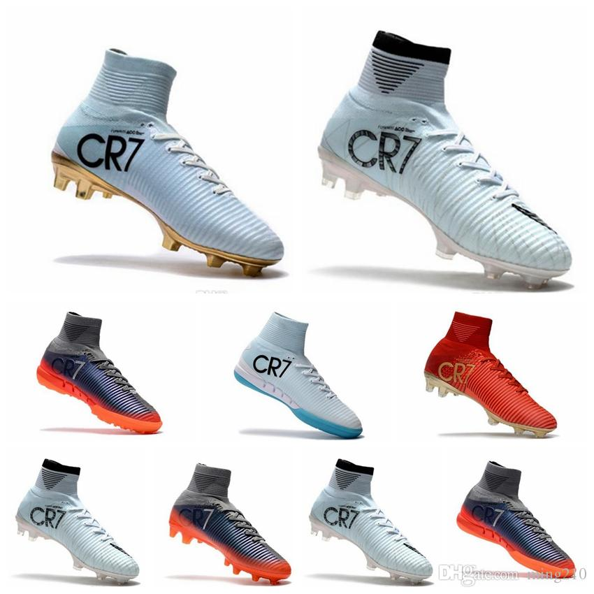 buy cheap with credit card cheap outlet locations Cheap White Gold CR7 Kids Indoor Soccer Shoes Mercurial Superfly V FG Soccer Cleats C Ronaldo Wholesale Football Boots 2019 supply sale online WVgCc4Q