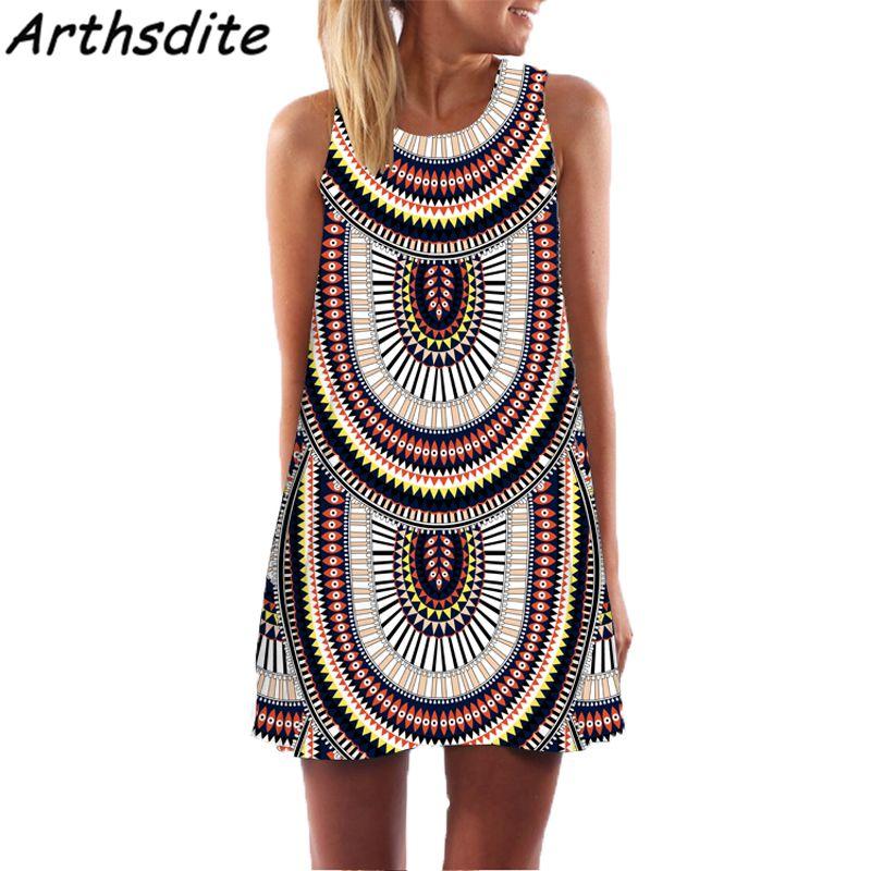 Arthsdite 2018 Vintage Women Summer Dress Floral Print Beach Dress Bohemian  Casual Sleeveless Mini Sundress Plus Size Vestidos Dress Bohemian Summer  Dress ... f2d2dc4234f2
