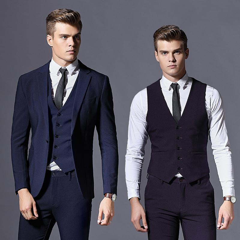 58d4410e2453 Traje Casual Slim Fit de 3 piezas para hombre de esmoquin Padrinos de boda  traje de baile de un solo botón para hombre Blazers chaqueta con pantalones  ...