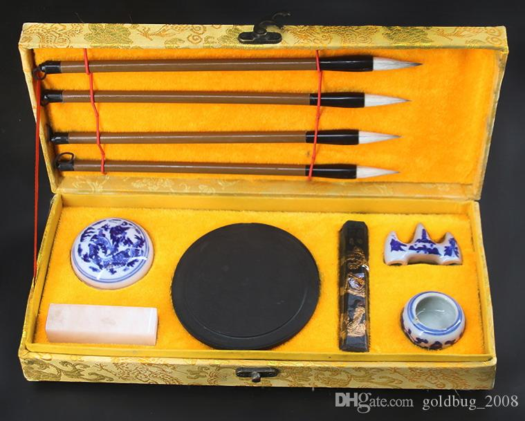 Collectibles Caligrafia chinesa escova caneta tinta Inkstone conjunto de caixa de ferramentas