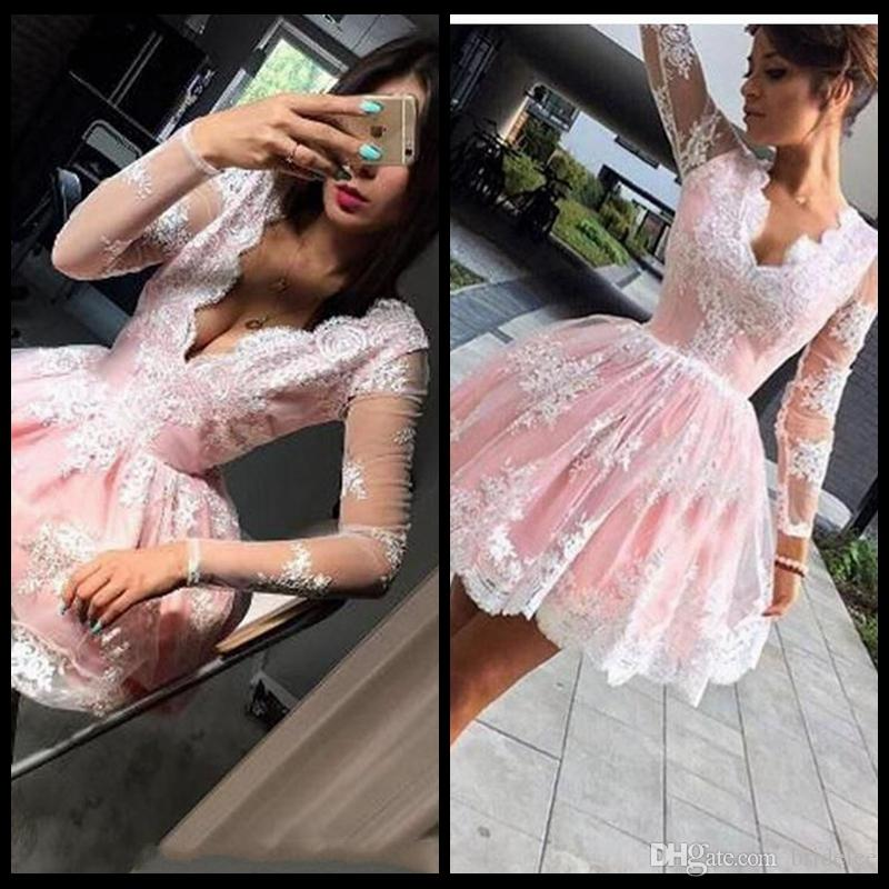2018 Sweetly Pink Short Prom Dresses With Illusion Long Sleeves Appliques Sexy V Neck Cheap Formal Party Gown Homecoming Dress
