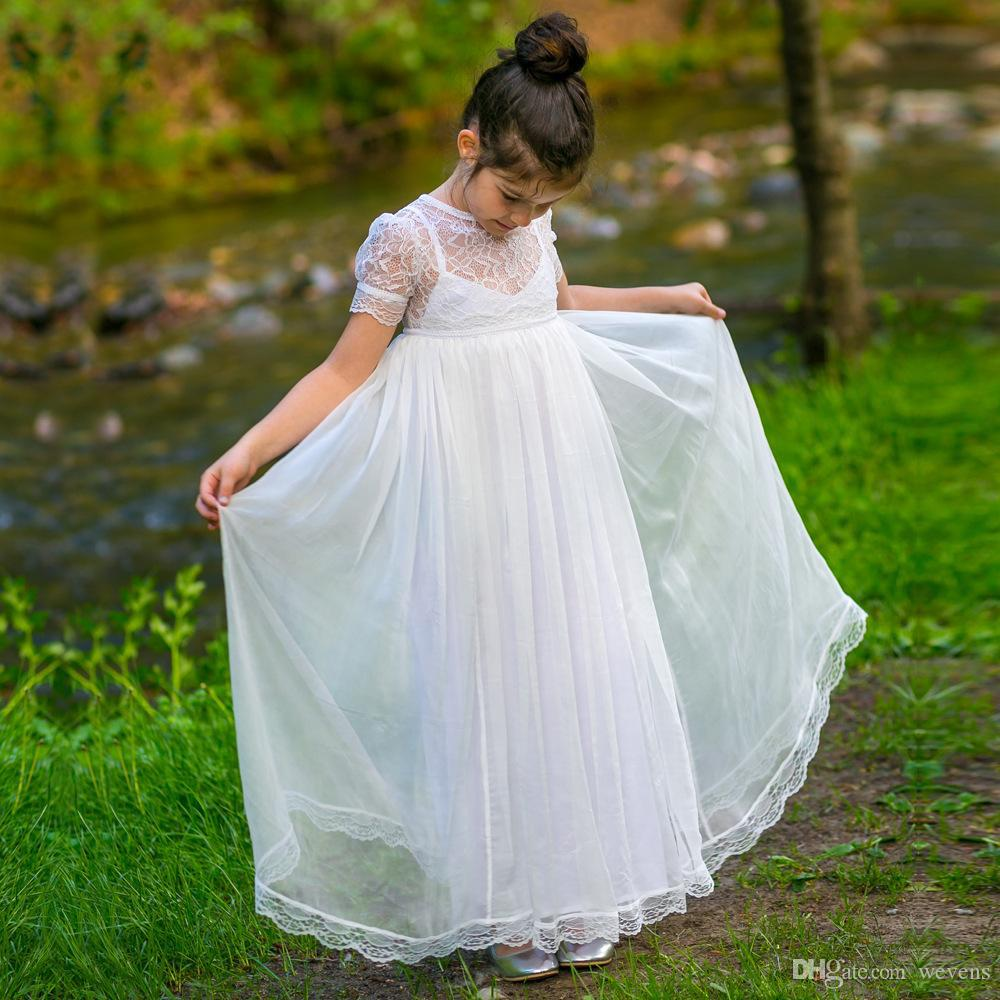 77dcd86219f9d Bohemian A Line Chiffon Flower Girls Dresses Jewel Neck Short Sleeve Floor  Length Button Back Kids Baby Girls Communion Gown Girls Communion Shoes  Girls ...
