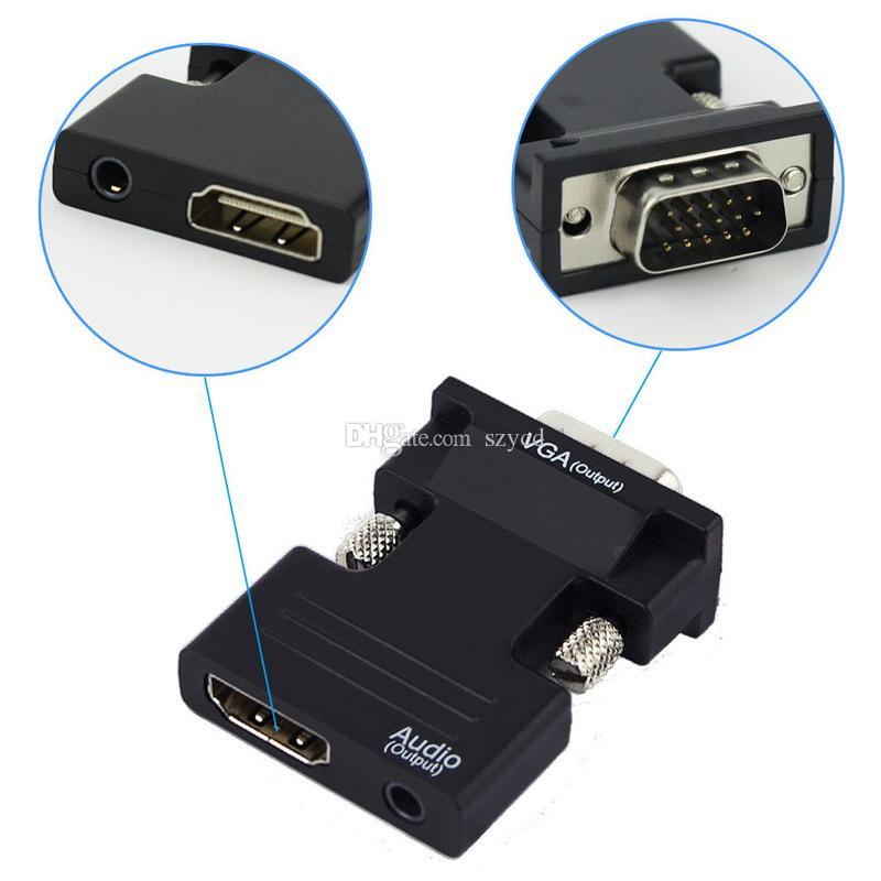 Hembra de HDMI al convertidor masculino video de VGA con la salida de la señal de 1080P del adaptador de audio de 3.5m m