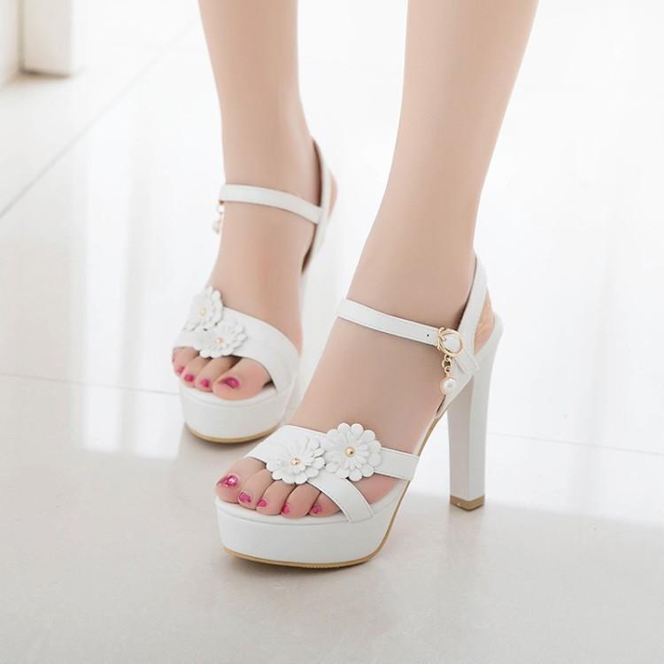 3df736b8a82 Wholesale Flower Elegant Women Wedding Sandals Bride Shoes White Pink Black  Extreme High Heels Platform Lady Sandals Large Size Espadrilles Birkenstock  ...