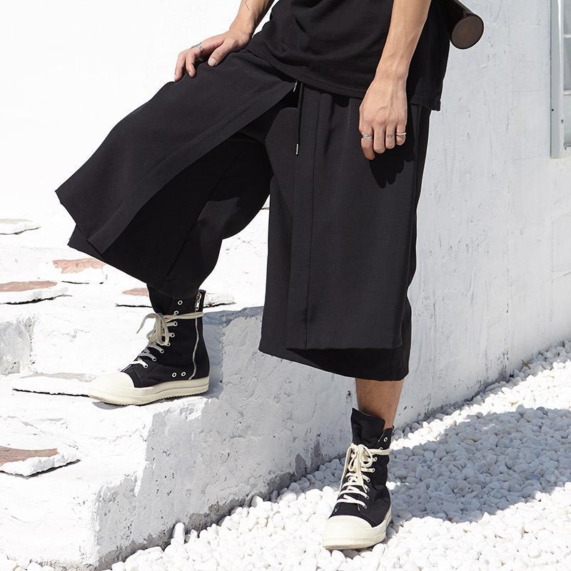 15b876aeb Moda Casual Falda Pantalones Streetwear Hombre Hip Hop Punk Harem  Pantalones Hombres Japón Kimono suelta pierna ancha pantalón