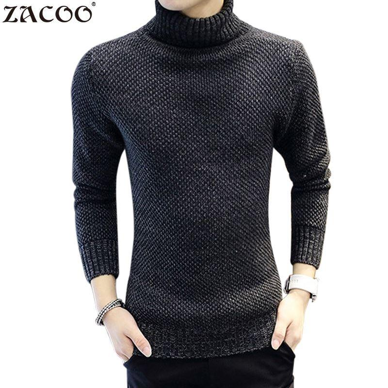 80ec7bee19 2018 Zacoo Winter Thick Warm Cashmere Sweater Men Turtleneck Men Brand Mens  Sweaters Slim Fit Pullover Men Knitwear Double Collar Y1892108 From  Zhengrui01