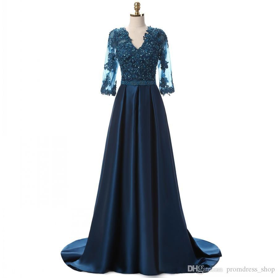 2019 Glamorous Dark Navy Evening Dresses With Sleeves Long Illusion