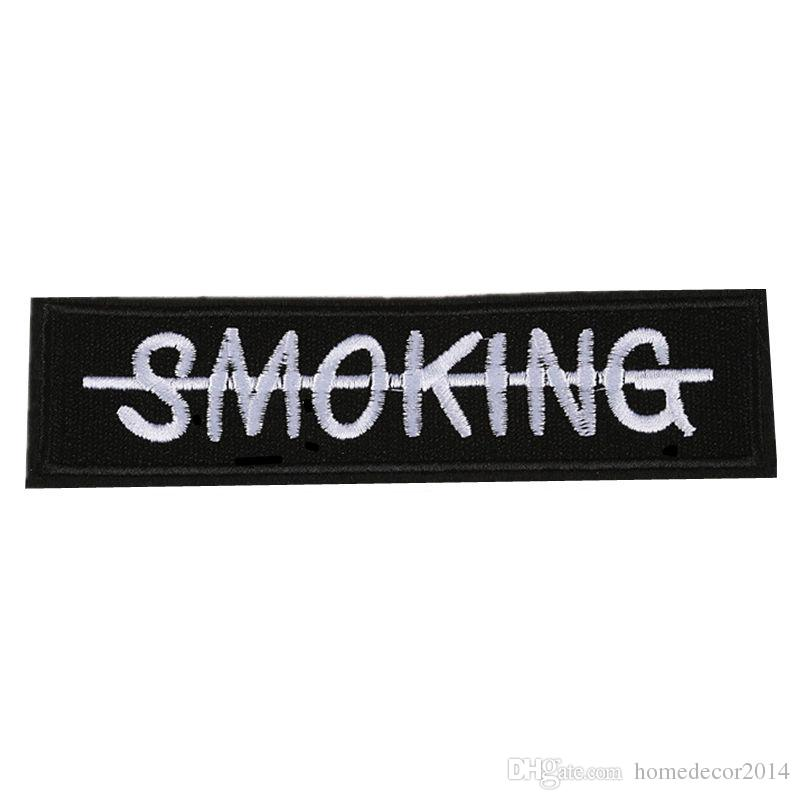 2019 embroidery letter patch no smoking sew iron on embroidered patches badges for bag jeans hat t shirt diy appliques craft decoration from homedecor2014