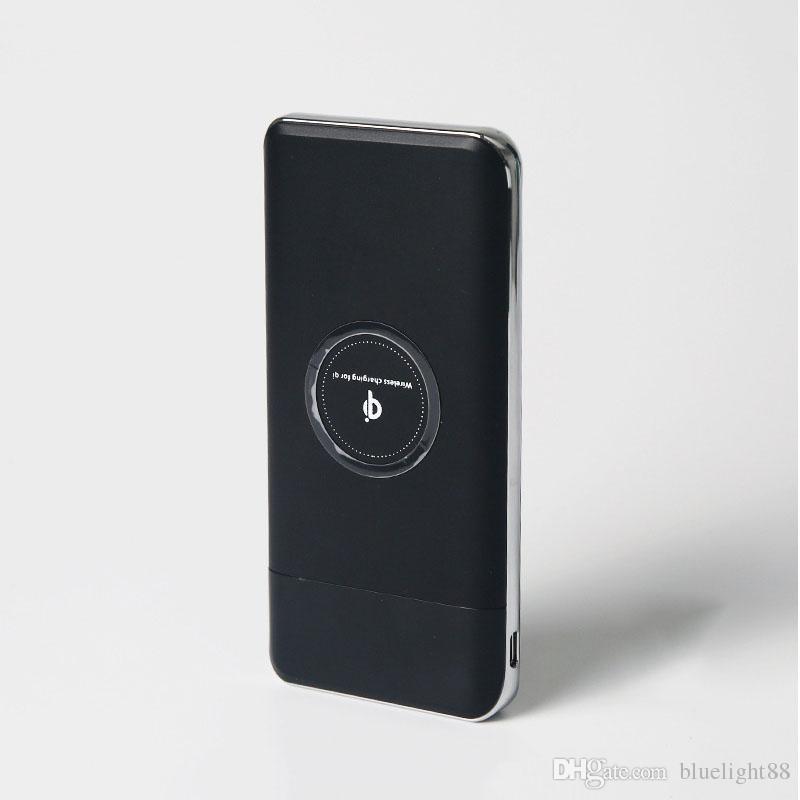 Carregador de Qi sem fio 10000mAh Power Bank Adaptador de carregamento rápido para Samsung Notes8 Xiaomi com caixa de varejo