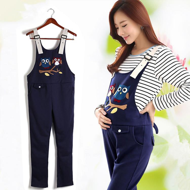 4623dc91d3b 2019 Maternity Clothing Pants Spring Autumn Cartoon Cotton Plus Size  Overalls Pregnant Women`s Large Size Suspender Trousers From Jeanyme