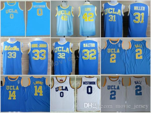 acc2c3718286 2019 UCLA Bruins College Basketball Jerseys 0 Russell Westbrook 42 Kevin  Love 33 Abdul Jabbar 31 Reggie Miller 32 Walton 2 Lonzo Ball Zach LaVine  From ...
