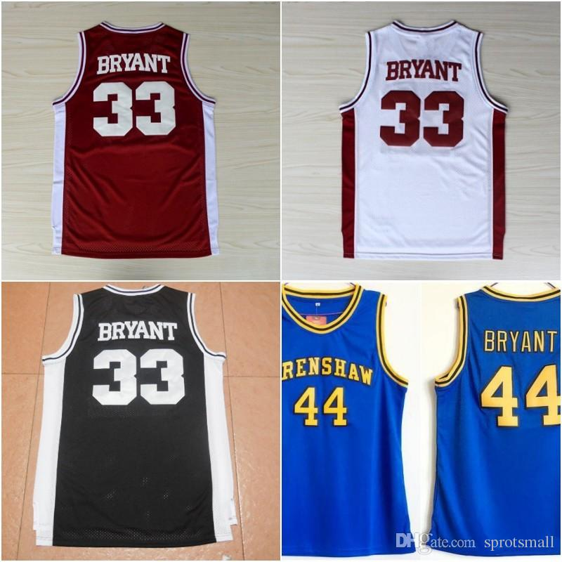 fb6f7cefb07f 2019 33 Kobe Bryant Lower Merion Red Black White Jersey Men Kobe Blue  Hightower Crenshaw High School Bryant Basketball Jerseys From Sprotsmall