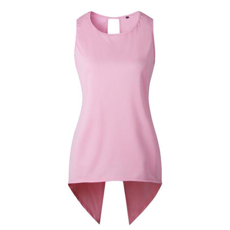 2018 New Styles spring and summer Hot Seller Women's Fashion Sleeveless Back Slit Tops irregular Tees Shirts S-3XL