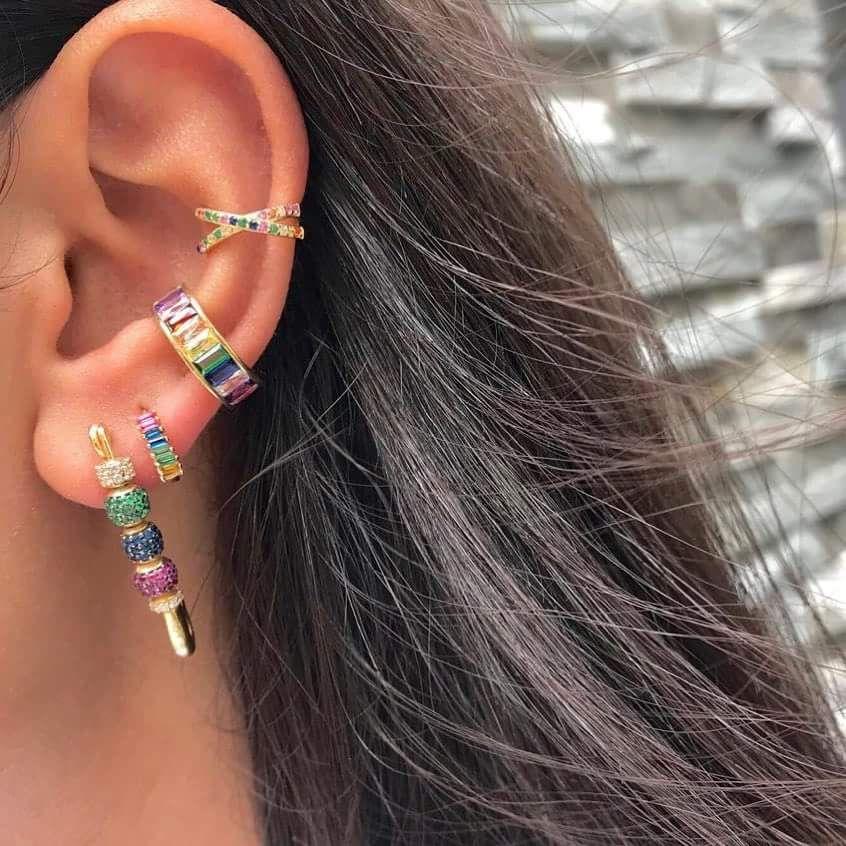 aac7b18b9 2018 Brand New Cubic Zirconia Baguette Stones Clip Cuff Ear Earrings ...