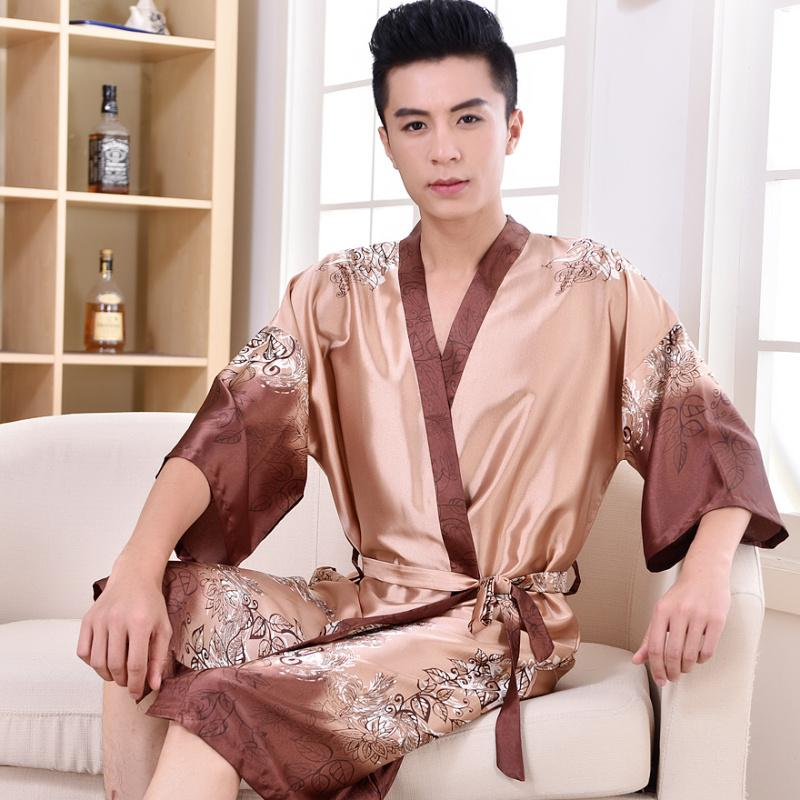 a2a9082e1f 2019 2017 Modern Spring Summer Fall Men Chinese Satin Silk Robe Male  Bathrobe Adult Casual Home Clothing Man Nightgown Plus Size 3XL From Freea