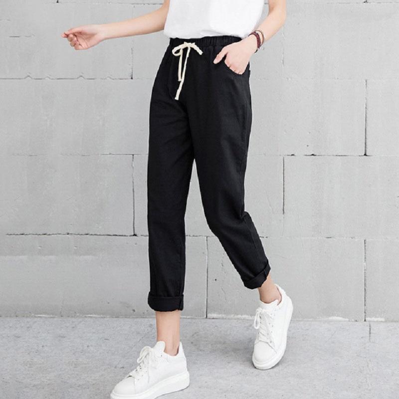 f5e1ec151fc591 2019 2018 Summer Autumn Women Casual Harajuku Long Ankle Length Trousers  Plus Size Solid Elastic Waist Cotton Linen Pants Black Pant From Maoyili,  ...