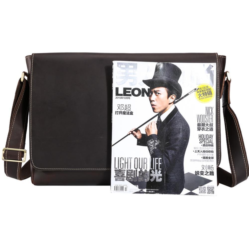 Handmade Genuine Leather 15 inch Laptop Messenger Bag Men Simple Vintage Style Cross body Shoulder Briefcase Large Satchel 1153