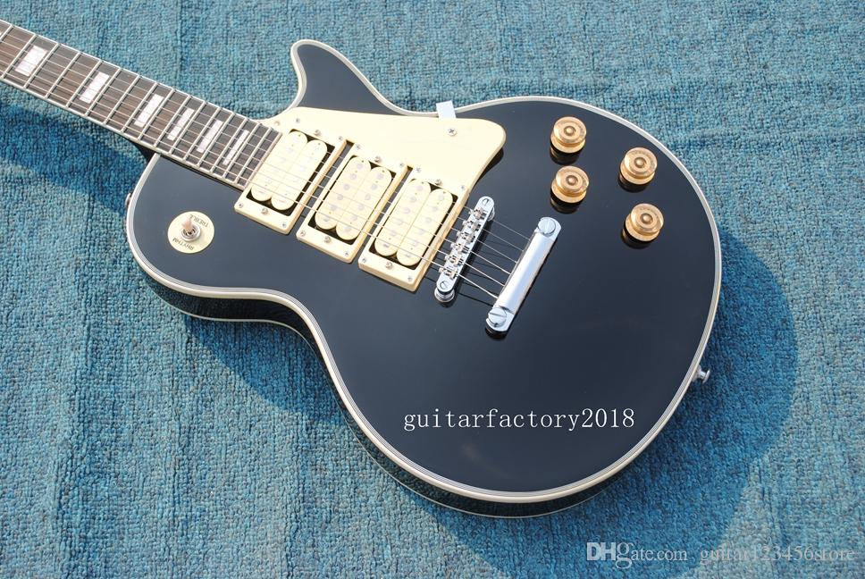 Factory custom custom shop style black color frehley signature guitar highest quality Ace frehley 3 pickups Electric Guitar