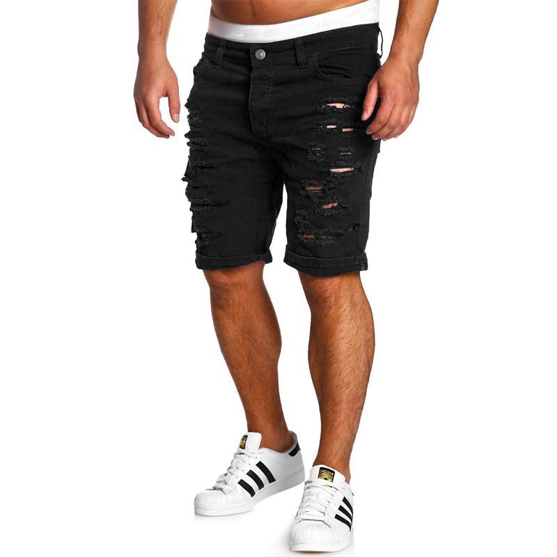 c8eb84d956870 Compre Moda Ripped Hole Denim Shorts Hombres Negro Blanco Slim Casual Jeans Shorts  Hombres Cintura Baja A  29.18 Del Vanilla15