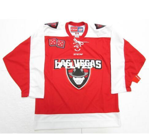 separation shoes b32e1 01436 Real Men real Full embroidery LAS VEGAS WRANGLERS REDWHITE ECHL Hockey  Jersey or custom any name or number Jersey