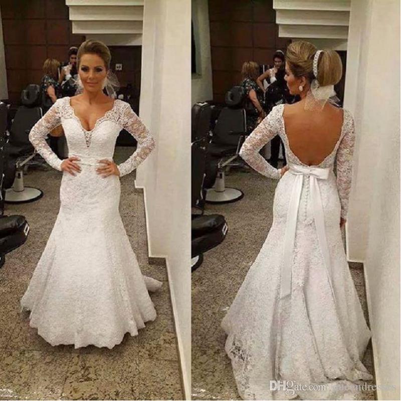Modest Long Sleeve Lace Mermaid Wedding Dresses V Neck Chapel Train ...