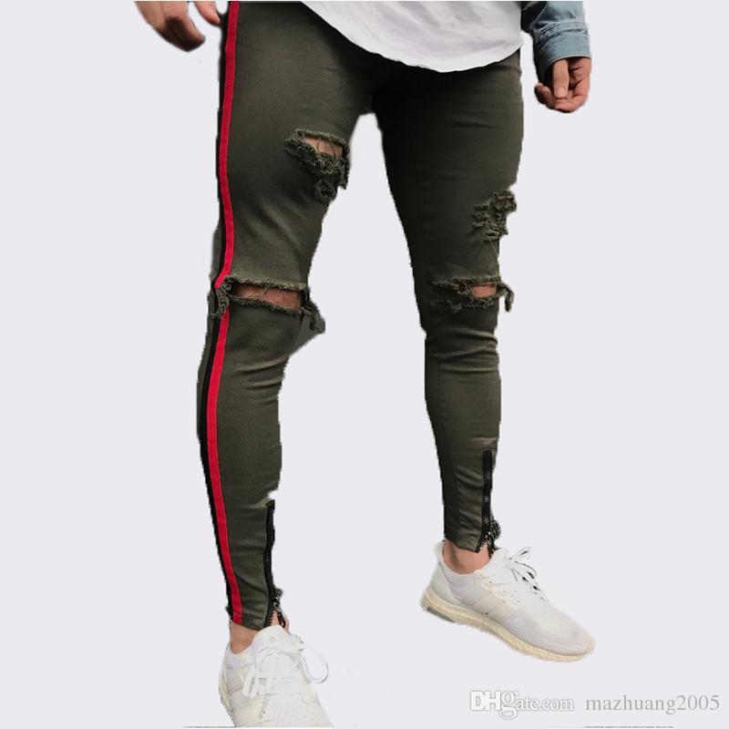 2018 Calças de Brim dos homens Pretos Hiphop Zíper Estiramento Do Joelho Rasgado Motociclista Jeans Buraco Hip Hop Elasticidade Skinny Denim Calças Jeans Do Vintage