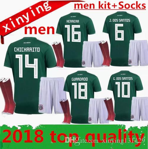 ... home green chicharito m.layun r.jimenez g.dos sa  world cup 2018 2019  mexico adult men sets + socks 18 19 m fabian soccer jersey e13088f21