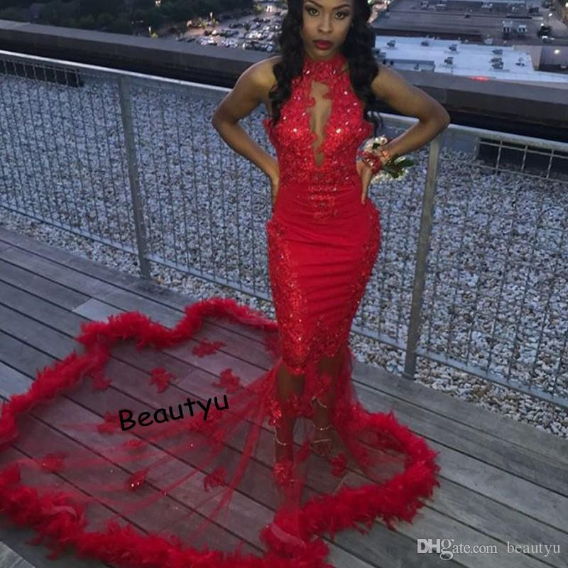 9f6ccd17 Sexy Red Mermaid Prom Dresses For Black Girl African 2018 New High Neck  Sleeveless Lace Feather Long Train Celebrity Formal Evening Gowns White Prom  Dresses ...
