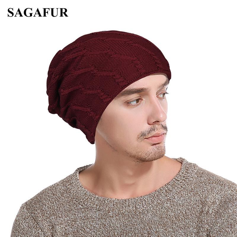 0cfe7c2a759205 Winter Beanies For Men Double Layer Warm Male's Cap Solid Color Wave Lines Pattern  Knitted Hat Street Fashion Casual Skullies