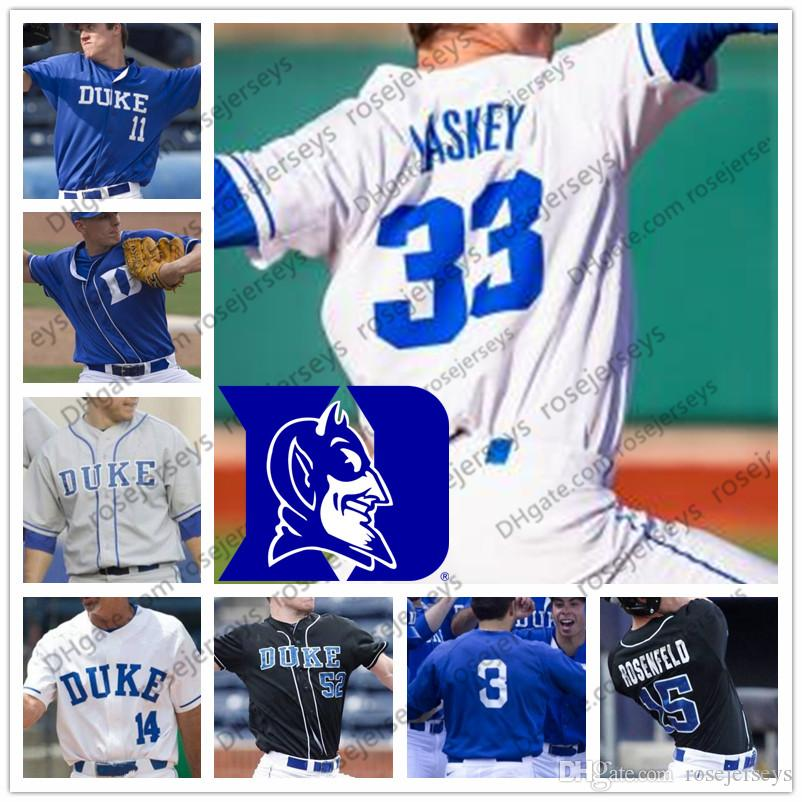 big sale e5fee 9b3a9 Custom Duke Blue Devils Baseball White Royal Black Stitched Any Number Name  #7 Marcus Stroman 3 Chris Crabtree 23 Michael Seander Jersey