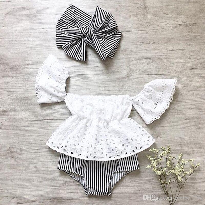 2018 INS bebé niña niño 3 piezas conjunto de encaje encaje Hollow Off hombro Tank Tops camisas chaleco + pantalones cortos Pantalones bombachos con arco diadema