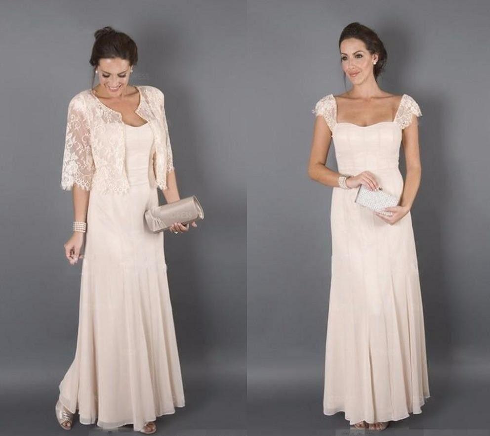 Elegante color champán con chaquetas Vestidos para madre de novia La madrina formal Las mujeres visten de noche Invitados de boda Vestido de talla grande