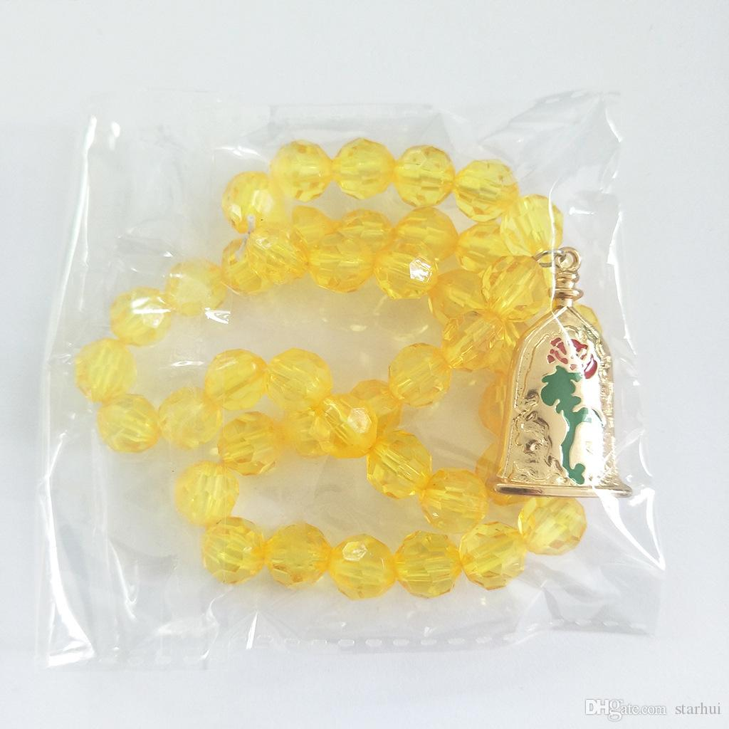 Charm Sarı Kristal Boncuk Kolye Giyinmek Için Çocuklar Bebek Çocuk Kostüm Cosplay Aksesuarları Dekorasyon Takı Kolye Kolye WX9-670