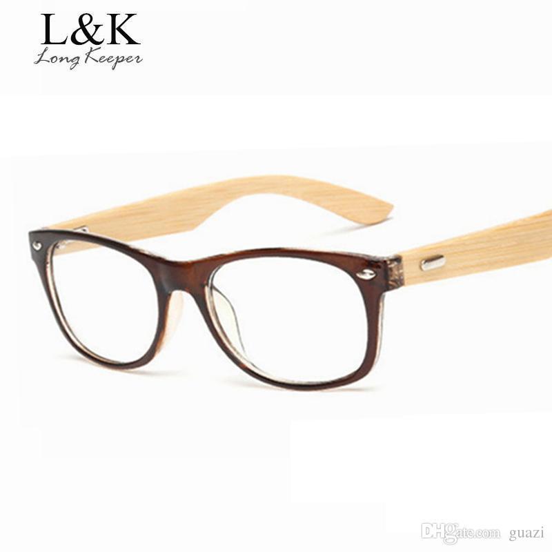 d97cf042ff 2019 Long Keeper Bamboo Temples Glasses Frame Men Women Eyeglasses Wood  Spectacle Frames Original Wooden Optical Myopic Gafas From Guazi