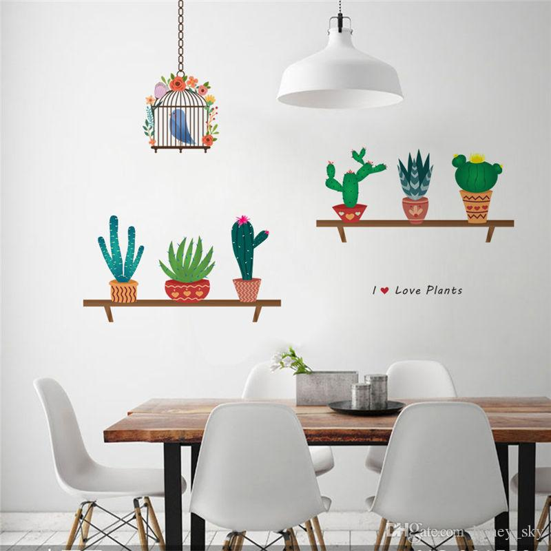 Creative Bonsai Cactus Wall Stickers Living room Decorations Kids Room Decals Bedroom plant Mural Art Furniture Decor Diy Posters