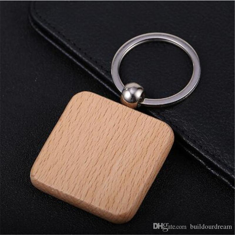 Simple Style Wood Key Chains Key Rings DIY Wood Round Square Heart Oval Rectangle Shape Key Pendant Handmade Keychain Gift