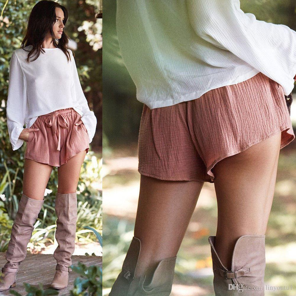 b74a7d87596c7 2018 NEW casual Women Sexy High Waist Crepe Hot short Summer Casual female  Mini Shorts Beach solid Shorts clothes 4 colors