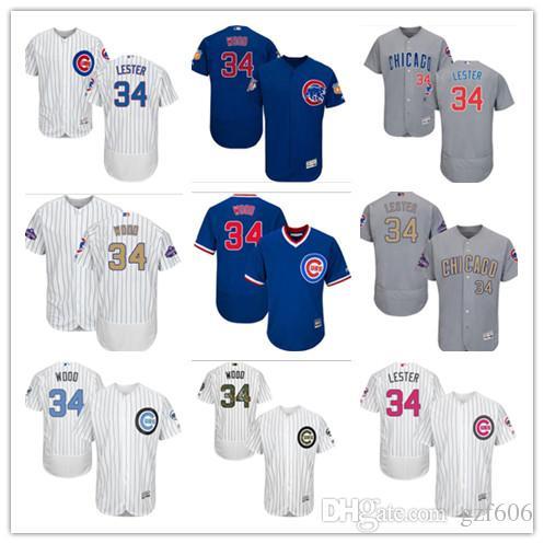 brand new d8478 7ddce custom Men s women youth Majestic Chicago Cubs Jersey #34 Kerry Wood 34 Jon  Lester Blue Grey White Kids Girls Baseball Jerseys