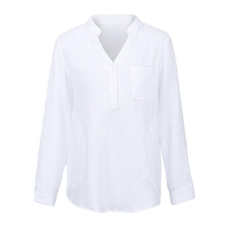 4c9d603ec54c0e Acquista Camicie Di Lino In Cotone Vintage Casual Donna Allentato Con  Scollo A V Manica Lunga Camisas Mujer Pocket 5XL Plus Size Camicia Casual  Ladies Top A ...