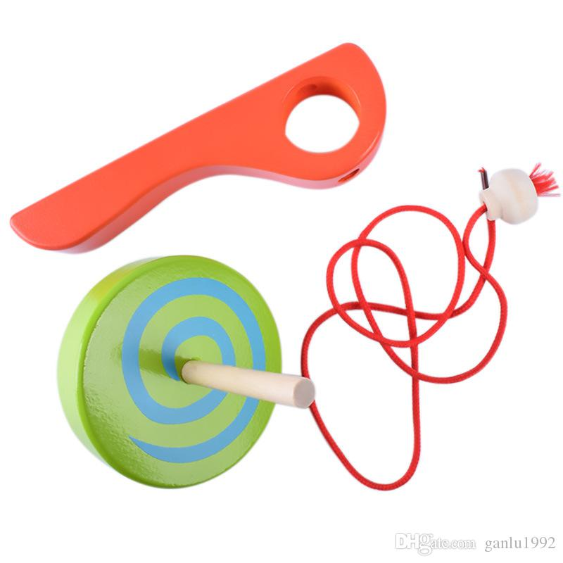 Wooden Handle Gyroscope Originality Pull Spinning Top Children Leisure Time Puzzle Toys Colorful Whipping Tops Hot Sale 6pd W