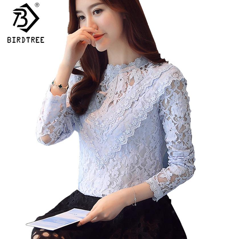0744e977f4031 2018 Spring Women Lace Blouses Long Sleeve Fashion Blouses and Shirts  Crochet Tops Casual Female Clothings Plus Size 2XL T81026A
